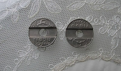 Israel Telephone Tokens Rotary Dial Hebrew & Arabic Silver colour 1960's Asimon