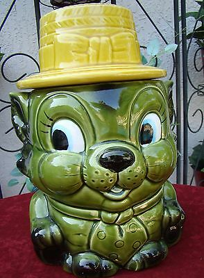 Large Porcelain Cookie Jar Green Leprechaun with Yellow Hat Lid