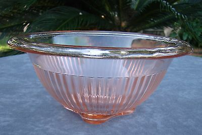 "Vintage Pink Depression Federal Glass Co.6"" Diameter Bowl w. Rolled Rim"