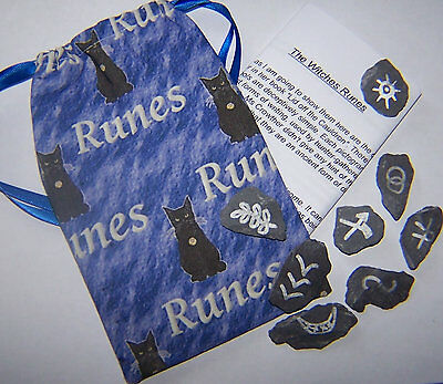 Witches Runes & Black Cat Rune Bag, Wicca, pagan, druid, Gift, magic, divination