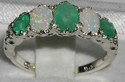 High Quality Solid Sterling Silver Natural Emerald & Opal English Ring