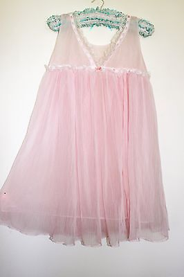 Vintage 50s pink baby-doll pleated nightie s.S-M