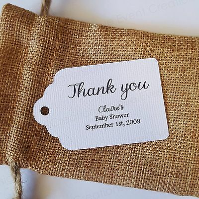 10x white Baby Shower Thank You Gift Tags Bomboniere Favor