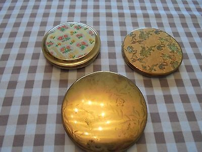 3 x old vintage brass compacts powder mirror compacts