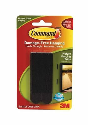 4 x 3M Command Large Black Picture Hanging Strips Self Adhesive Holds 7.2kg