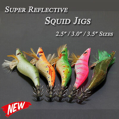 5x Quality Japanese Reflective Squid Jigs Tackle Lure Glow Luminous 2.5 3.0 3.5