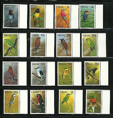 BIRDS MNH -Magnificent Liberia Complete Marginal set of 16 to $3 -Fantastic iss