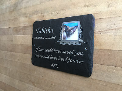 Made to Order Pet Photo Memorial Slate Plaque Grave Marker - Add Message & Photo