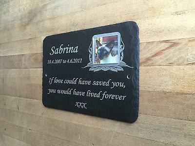 Personalised Pet Photo Memorial Slate Plaque Grave Marker - Add Message & Photo