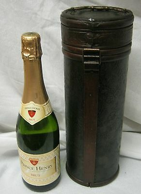 Wooden Hinged Wine Bottle Carrier -Decorative Leather Etching