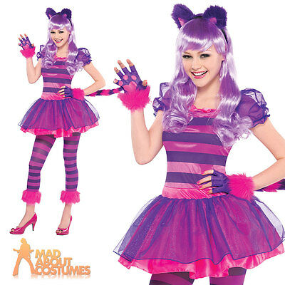 Girls Cheshire Cat Costume Teen Kids Pink Kitty Fancy Dress Halloween Outfit New