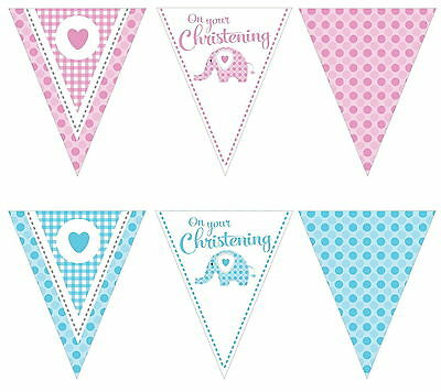 Sweet Baby Elephant Christening  Pennant Flag Banner Pink Blue Party Decoration