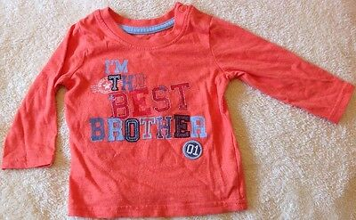 "Baby Boy Orange ""I'm The Best Brother"" Top Size 6-9 Months From George, Free P&P"