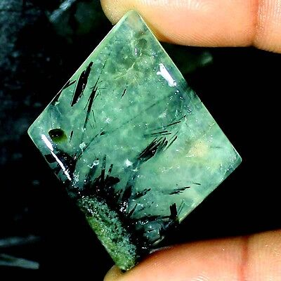 61.45 CTs NATURAL BLACK NEEDLE IN Prehnite FANCY CABOCHON AFRICAN LOOSE GEMSTONE
