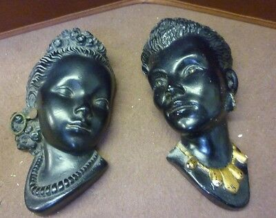 Two Original Vintage Plaster Lady Wall Plaques (5) Please See Others Listed