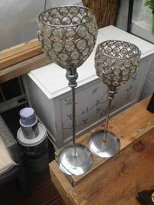 pair of silver/glass effect t-light holders