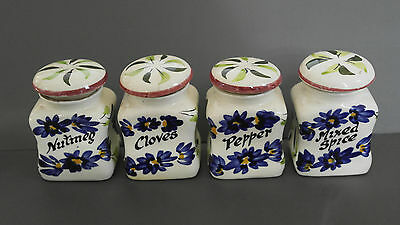 Toni raymond pottery ceramic spice pots jars blue white floral vintage kitchen