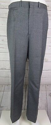 Vtg Flat Front Grey Marl 100% Wool Trousers 80s does 60s Mod W33 L31 DN63