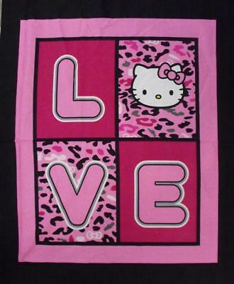 Patchwork Quilting Sewing Fabric HELLO KITTY LOVE Quilt Panel 90x110cm New