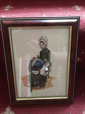 Hand Made Cross Stitch Of A Lace Maker Framed
