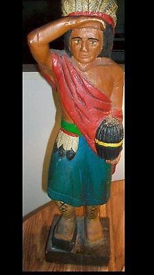 Wooden Hand Carved Painted Indian 21 inch tall