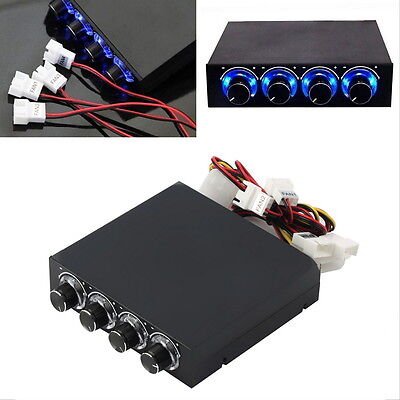 3.5inch PC HDD CPU 4 Channel Fan Speed Controller Led Cooling Front Panel UM