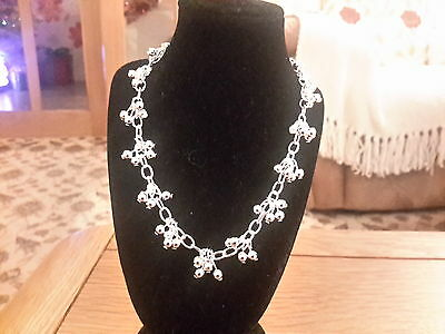 Brand new Silver 925 stamped  beaded chain necklace  with gift box