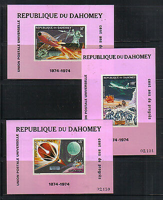 Dahomey 1974 Space Thre miniature sheets unmounted mint