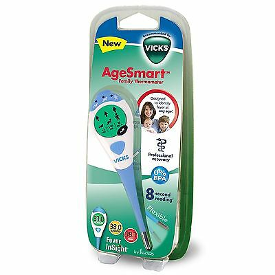 Vicks AgeSmart Family 3-in-1 Stick Thermometer Oral Underarm Rectal Use BPA Free