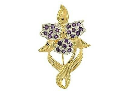 3 Ct Genuine Amethyst Flower Brooch Pendant 18Kt Gold Over Sterling Silver New