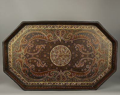 A Fine Early 19th Century Kashmiri Lacquered Tray - Complex Decoration.