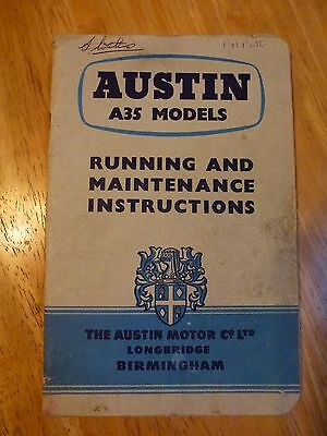 Austin A35 Classic Car Van Owners Manual - dated August 1957