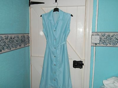 Ladies Nylon Overall Vintage Pinny/uniform in Blue check design   size 12