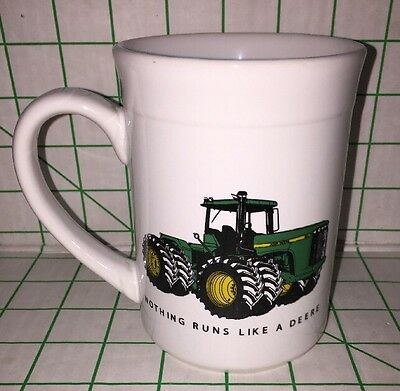 "John Deere Mug ""Nothing Runs Like a Deere!"" Tractor Gibson White 15 oz"