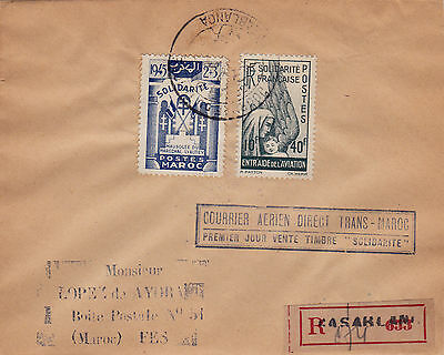 Morocco : Trans-Maroc Air Mail 'solidarite' Stamps Reg. First Day Cover A (1945)