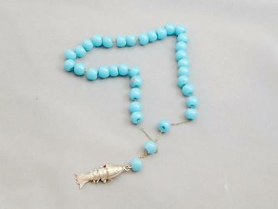 Antique Chinese Turquoise Glass Prayer Beads With Silver Articulated Fish