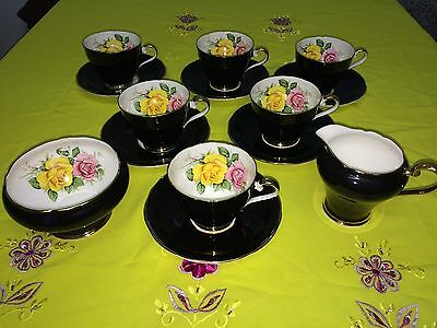 6x Vintage Aynsley cups and saucers, milk & sugar black with roses, part tea set