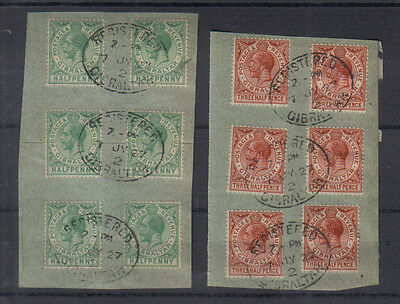 Gibraltar George V 1927 1/2d and 1 1/2d used values on piece