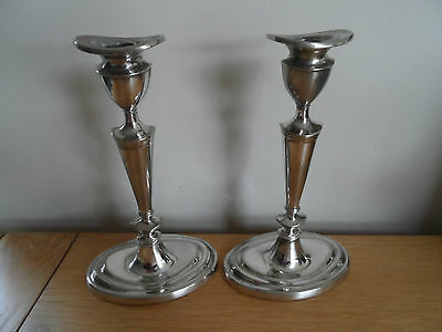 Antique Georgian Old Sheffield silver plate tall oval pair of 2 candlesticks