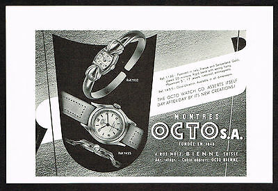 1950's Vintage 1950 Octo Watch Co. Watches - Paper Print AD