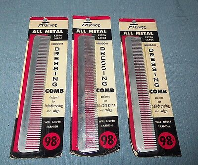 Vintage Forever All Metal EXTRA LARGE DRESSING COMB NOS LOT OF 3