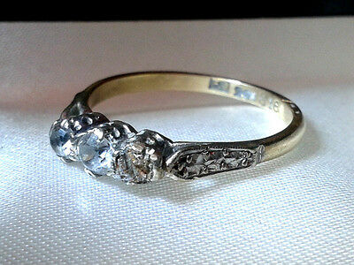 1940S engagement Vintage 9ct Gold Diamond Eternity love Ring stamped hallmarked