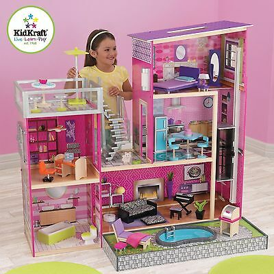 Uptown Dollhouse with Lights Sounds & 35 Pc Furniture Kidkraft 65833