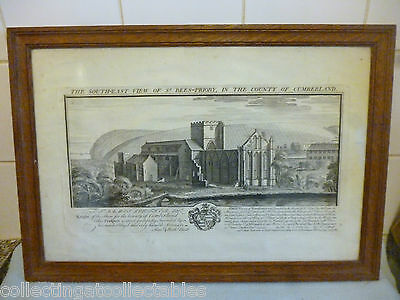 1739 Engraving The South East View Of St Bees Priory Samuel & Nathaniel Buck