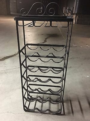 Wrought Iron Wine Rack - Holds 18 Bottles And Wine Glasses