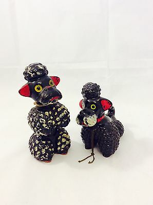 Vintage Black Spaghetti Poodle Dog Figurine Made in Japan Elvin Hand Painted