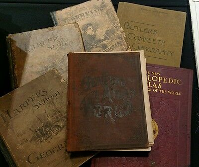 Lot of six antique atlases and geography books 19th Century
