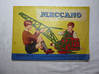 Vintage late 1950's MECCANO Instruction Book for Set No. 6