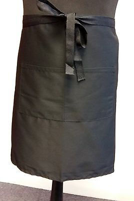 Mid Length Bar Apron - Black Polyester Cotton Twill - with pockets  Pack of 2