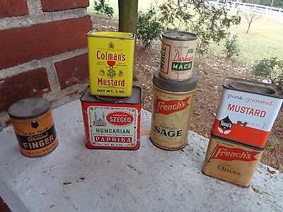 Vintage Lot Of 7 Spice Tins Tin Can Durkee French's Ann Page Colman's Tones